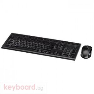 Клавиатура HAMA Безжичен комплект- клавиатура+мишка SE3000, черна,1000 dpi,2.4Ghz, USB, нано рисивър