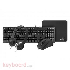 Клавиатура UGO Office combo set 4in1 - keyboard + mouse + headphones + mousepad