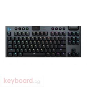 Геймърска клавиатура LOGITECH G915 TKL Tenkeyless LIGHTSPEED Wireless RGB Mechanical Gaming Keyboard - GL Clicky - CARBON - US INTL - INTNL