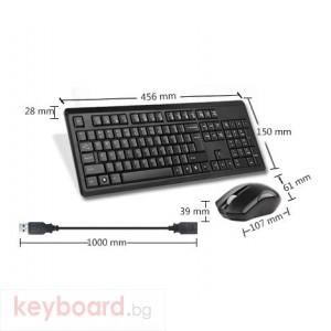 Комплект клавиатура и мишка A4tech 4200N, Безжичен, мишка V-track, Черен
