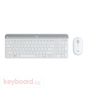 Kомплект безжични клавиатура с мишка Logitech MK470, Бяла