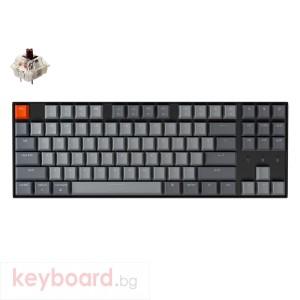 Геймърска Механична клавиатура Keychron K8, Hot-Swappable TKL Gateron, Brown Switch White LED, Gateron Brown Switch ABS