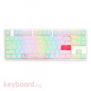 Геймърскa механична клавиатура Ducky One 2 TKL White RGB, Kailh BOX Brown