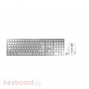 Kомплект безжична клавиатура с мишка CHERRY DW 9000 SLIM, Бял/Сребрист