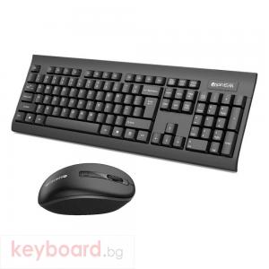 Комплект мишка и клавиатура Glion 1200, Безжични, Черен