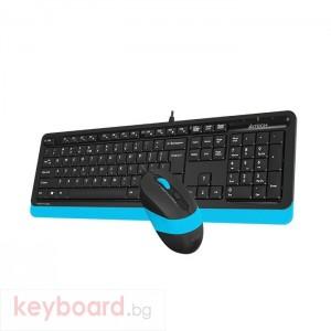 Комплект клавиатура и мишка A4TECH F1010, с кабел, USB, Син