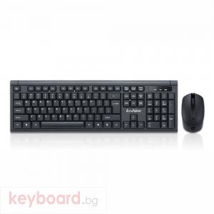 Комплект мишка и клавиатура No brand T7800, Безжични, Черен