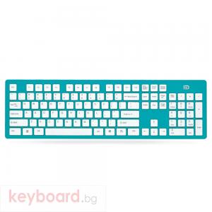 Клавиатура No brand K3, Безжична, Син
