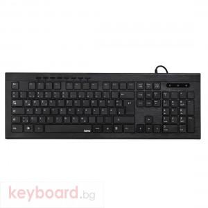 Мултимедийна клавиатура HAMA Anzano, светещ  страничен ефект в синьо, USB, с кабел, черен