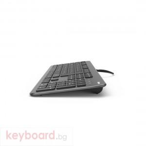 Клавиатура безшумна HAMA KC-700, с кабел, USB, кирилизирана, Черен/Сив