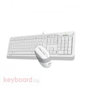 Комплект клавиатура и мишка A4TECH F1010, с кабел, USB, Бял