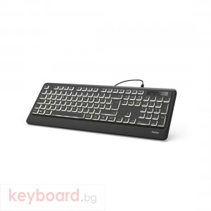 Клавиатура HAMA KC-550, подсветка, USB, с кабел, черен