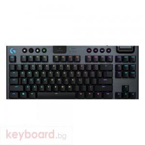 Безжична геймърска механична клавиатура Logitech, G915 TKL Black Lightsync RGB, Tactile суичове