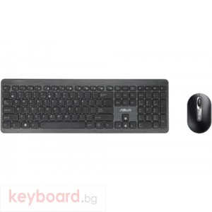 Комплект ASUS W2000 Chiclet Wireless Keyboard & Optical Mouse Set черен