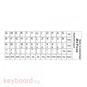 Букви за клавиатура, DeTech, Латиница, Бял