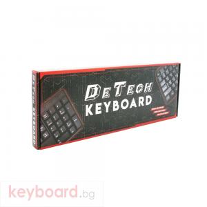 Клавиатура DeTech DE6082, USB, Кирилизирана, Черен