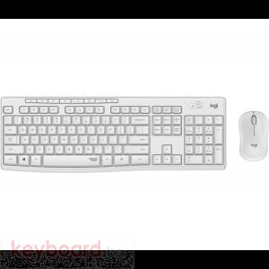 Kомплект безжични клавиатура с мишка Logitech MK295 Silent, Бял