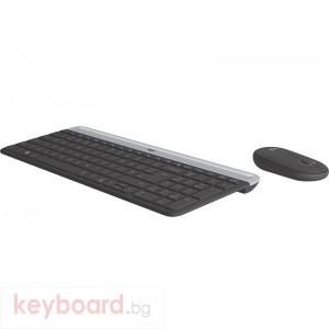 Kомплект безжични клавиатура с мишка Logitech MK470, Черна