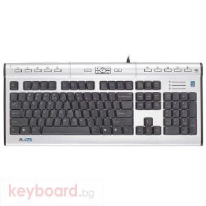 Клавиатура A4 TECH Мултимедийна, ергономична KL-7MU, USB