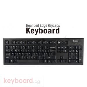 Клавиатура A4 TECH KR85,Клавиатура PS/2, черна, със заоблени клавиши