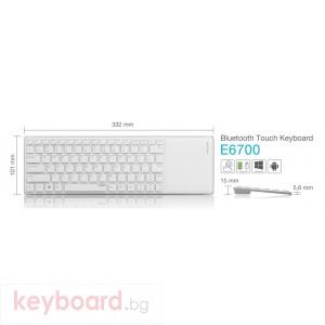 Клавиатура RAPOO E6700 White Блутут тъч клавиатура, кирилизирана