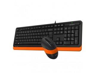 Комплект клавиатура и мишка A4TECH F1010, с кабел, USB, Оранжев
