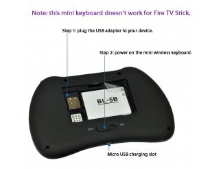Безжична клавиатура за смарт TV и медиа плеър VENZ VZ-KB-4, 2.4 GHz, Черна